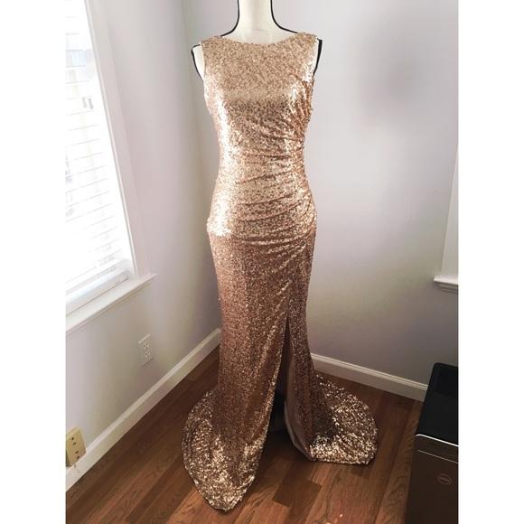 Badgley Mischka Dresses | Rose Gold Sequin Evening Gown | Poshmark